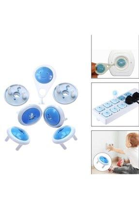 Asrın Store Unisex Mavi Anahtarlı Bebek ve Çocuk Koruyucu Priz Kilidi Aparatı 6 Adet 1