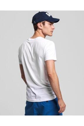Gant Erkek Beyaz Slim Fit V Yaka T-Shirt 1