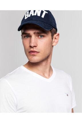 Gant Erkek Beyaz Slim Fit V Yaka T-Shirt 3