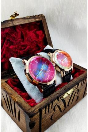 Özel Ahşap Kutusunda Sevgili / Eş Çift Kol Saati Mıknatıslı Renkli Cam Met-elite MTXKTCIFT1