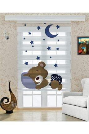 UCUZPERDEDUNYASI Uyuyan Ayıcık Baskılı Çocuk Odası Zebra Perde 0