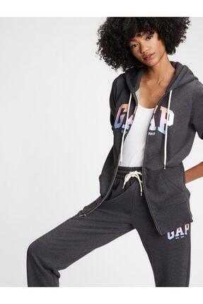 GAP Kadın Gri Logo Kapüşonlu Sweatshirt 0