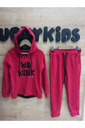 Lucky Kids Kız Çocuk Kırmızı Kapüşonlu Eşofman Takımı 0