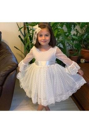 Buse&Eylül Bebe Beyaz Dantelli Kız Çocuk Elbise 1