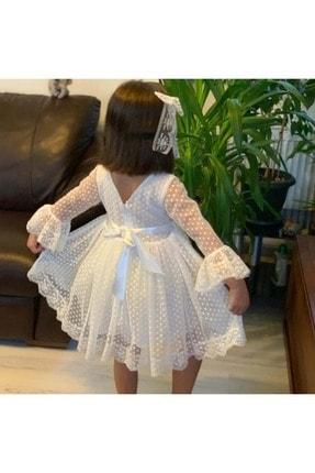 Buse&Eylül Bebe Beyaz Dantelli Kız Çocuk Elbise 2