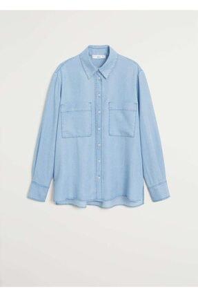 Mango Kadın Donuk Mavi Cepli Gömlek 67025971 0