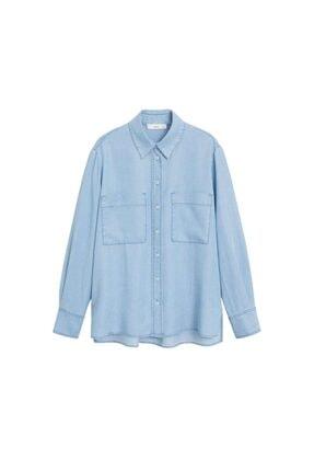 Mango Kadın Donuk Mavi Cepli Gömlek 67025971 2