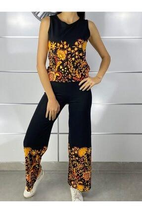 ELBİSENN Kadın Siyah Kolsuz Bluz Pantolon Ikili Takım 1