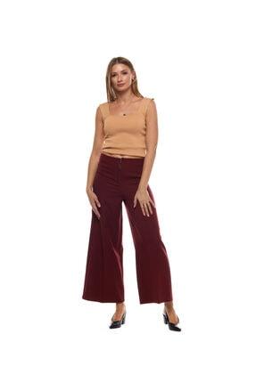 Kadın Bordo Fermuar Detaylı Geniş Paça Pantolon 250001