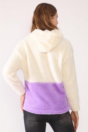 trendolur Kadın Lila Nakışlı Welsoft Kapüşonlu Sweatshirt 1