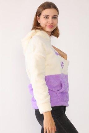 trendolur Kadın Lila Nakışlı Welsoft Kapüşonlu Sweatshirt 3