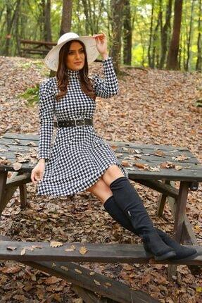 Neşeli Butik Kadın Yarım Balıkçı Kol Ve Kemer Detaylı Yeni Sezon Kışlık Elbise Nb7156 0