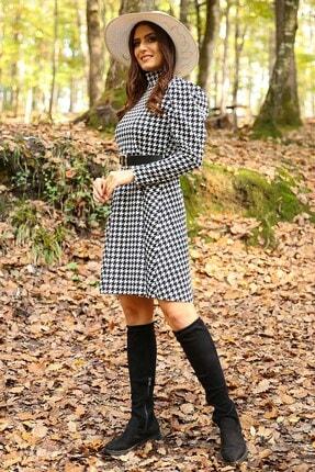 Neşeli Butik Kadın Yarım Balıkçı Kol Ve Kemer Detaylı Yeni Sezon Kışlık Elbise Nb7156 3