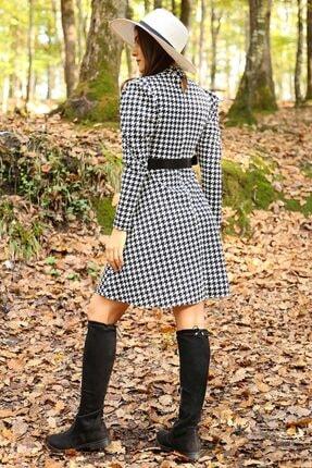 Neşeli Butik Kadın Yarım Balıkçı Kol Ve Kemer Detaylı Yeni Sezon Kışlık Elbise Nb7156 4