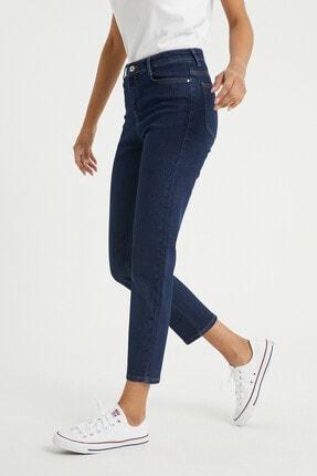 BOSHETTI Kadın Indigo Yüksel Bel Mom Slim Fit Jeans 1