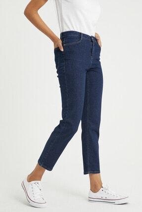 BOSHETTI Kadın Indigo Yüksel Bel Mom Slim Fit Jeans 3