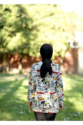 CARDİ Kadın Beyaz Baskılı Kapüşonlu Sweatshirt 3