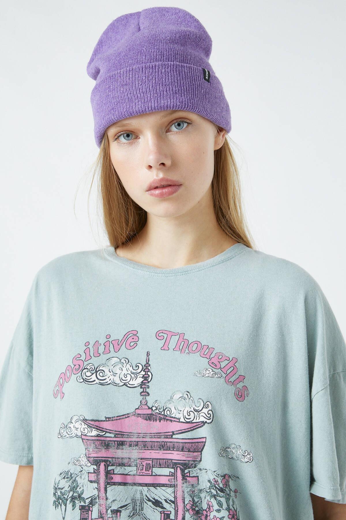 Pull & Bear Kadın Orta Haki Pembe Tapınak Görselli T-Shirt 04240328 3