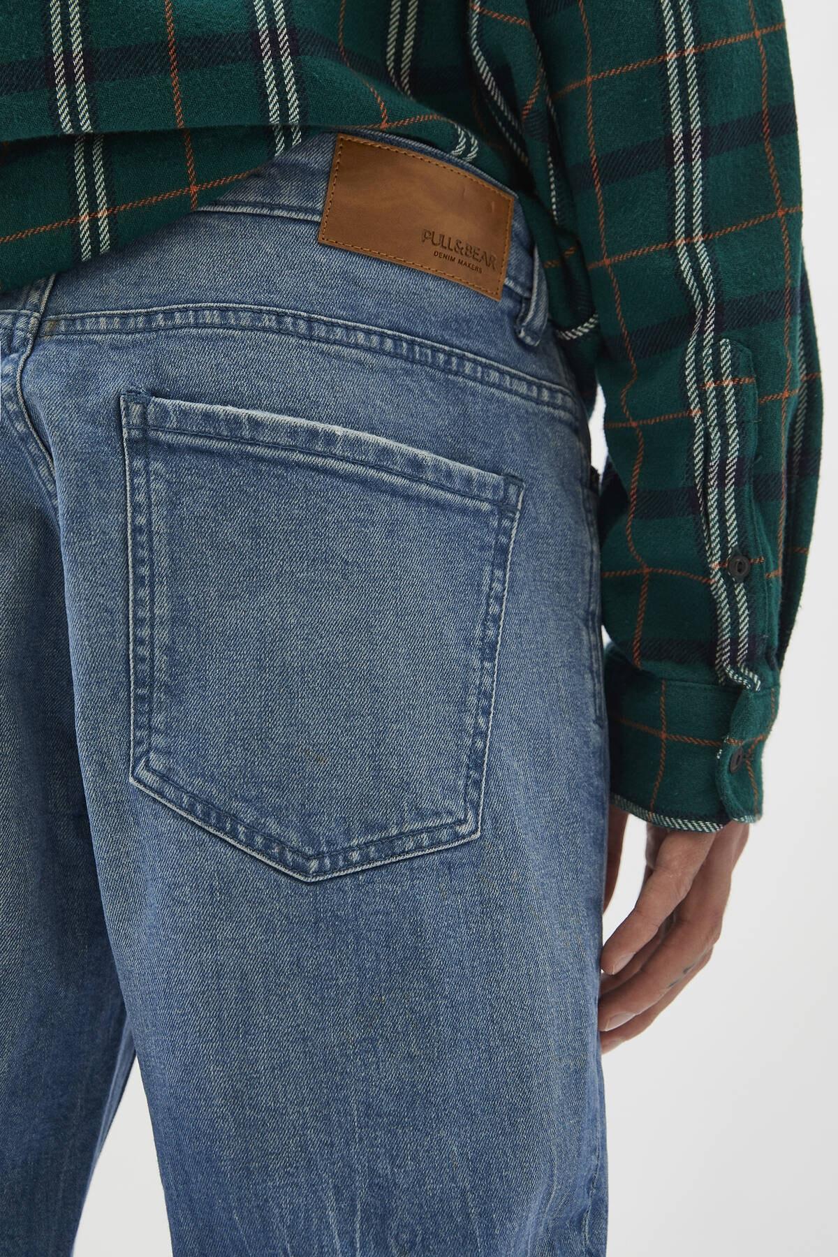 Pull & Bear Erkek Yeşilimsi Mavi Comfort Slim Fit Jean 04681504 1