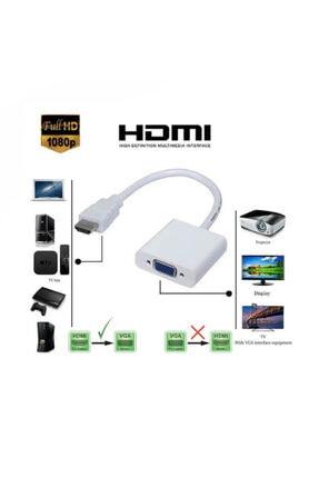 WOZLO Hdmi To Vga Çevirici Dönüştürücü Projeksiyon Notebok Pc Uyumlu Kablo 3