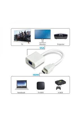 WOZLO Hdmi To Vga Çevirici Dönüştürücü Projeksiyon Notebok Pc Uyumlu Kablo 4
