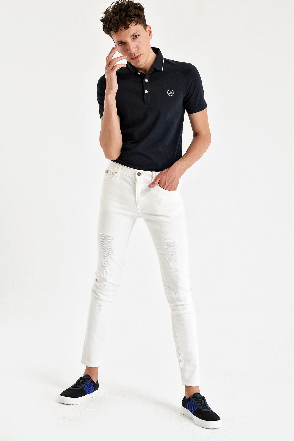 Erkek Beyaz Jean