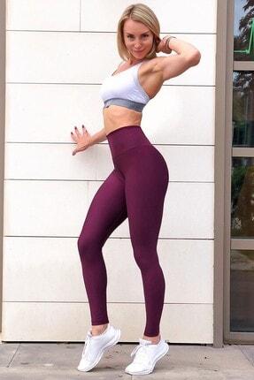 Alışveriş Sokağı Kadın Mor Scrunch Butt Leggings Arkası Büzgülü Yüksek Bel Spor Tayt 2