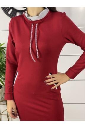 ELBİSENN Kadın Kırmızı Şerit Detay Spor Elbise 1