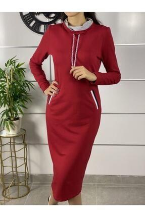 ELBİSENN Kadın Kırmızı Şerit Detay Spor Elbise 2