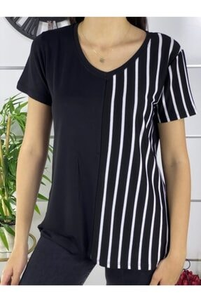ELBİSENN Kadın Siyah V Yaka Garnili Bluz 2