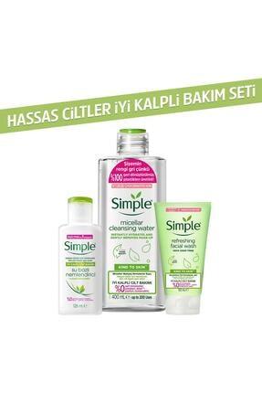 Simple Kind To Skin Hassas Ciltlere Uygun Sert Kimyasal İçermeyen İyi Kalpli Cilt Bakım Seti 0