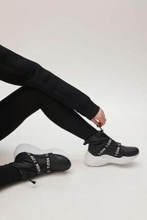 Marjin Ozina Kadın Streç Dolgu Topuk Spor Botsiyah 2