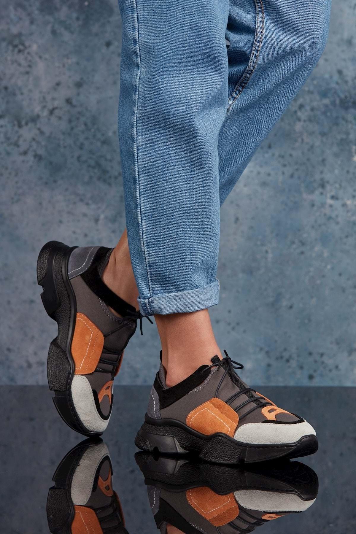 Siyah Turuncu Kadın Sneaker DS.RDM10159