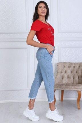 Modaca Kadın  Açık Mavi Mom Style Lazer Detay Jean 2
