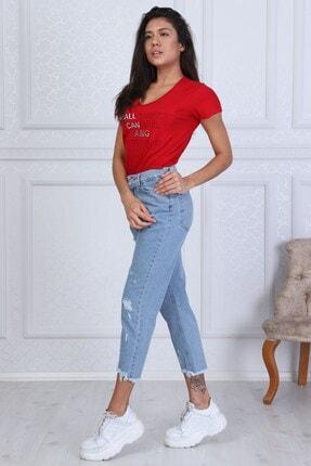 Modaca Kadın  Açık Mavi Mom Style Lazer Detay Jean 3