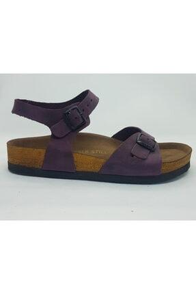ÇELEMLİ Kadın Mor Deri Sandalet 3