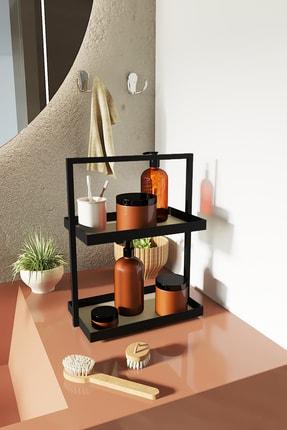 LİLLA HOME İki Katlı Dikdörtgen Krem Deri Mutfak Takı Makyaj Banyo Düzenleyici Organizer 35 cm 0