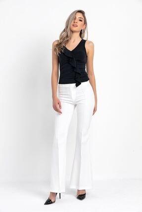 Zafoni Kadın Beyaz Ispanyol Paça Kumaş Pantolon 1