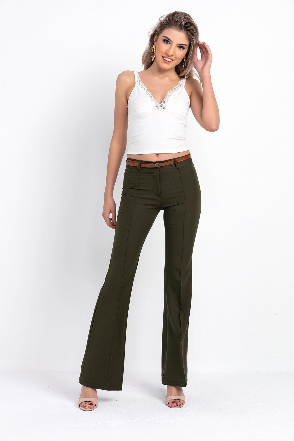 Kadın Haki Ispanyol Paça Kumaş Pantolon