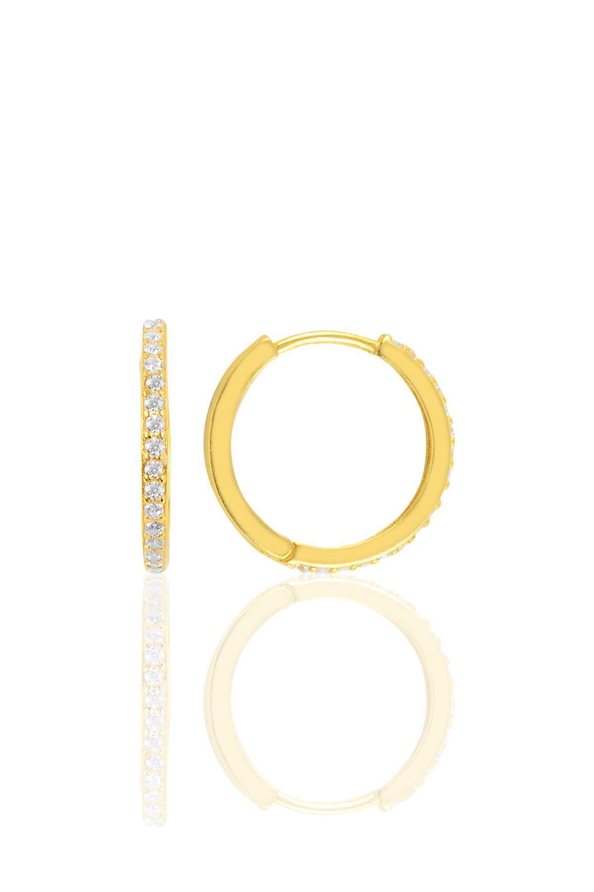 Söğütlü Silver Gümüş Altın Yaldızlı 17 Mm Halka Küpe 0