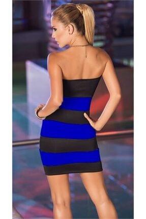 lovebox Kadın Siyah Tknfashıon Esnek Dalgıç Kumaş Straplez Mini Renkli  Gece Elbisesi 1