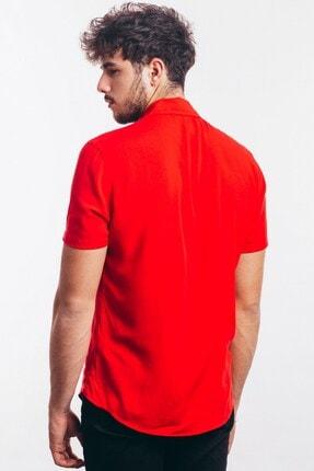 Karpefingo Erkek Kısa Kol Fermuarlı Kırmızı Gömlek - 43853 4