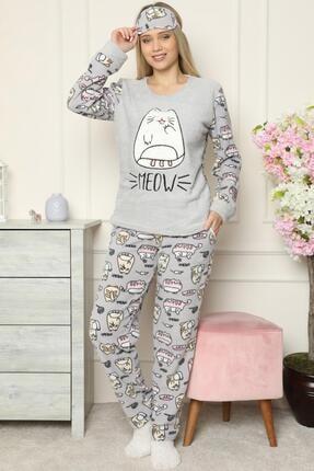 Pijamaevi Big Cat Desenli Kadın Peluş Pijama Takımı 1