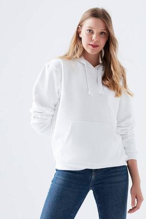 reel monde Kadın Beyaz Kapüşonlu Sweatshirt 1