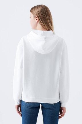 reel monde Kadın Beyaz Kapüşonlu Sweatshirt 2