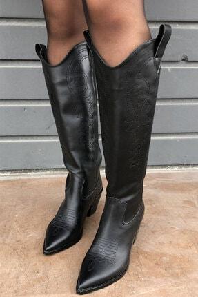 meyce Kadın Siyah Sivri Burun Işlemeli Uzun Kovboy Bot Çizme 0