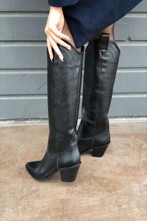 meyce Kadın Siyah Sivri Burun Işlemeli Uzun Kovboy Bot Çizme 2
