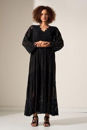 Camena Kadın Siyah Dantel Detaylı Elbise 2019070500176 1