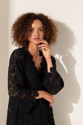 Camena Kadın Siyah Dantel Detaylı Elbise 2019070500176 2