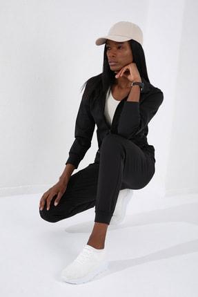 Tommy Life Gizli Cep Fermuarlı Siyah Kadın Eşofman Takım 4